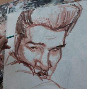 Golden Caricatures Volume 3: caricature of Elvis by Lezio Junior (pencil rough).