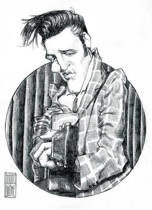 Golden Caricatures Volume 2: caricature of Elvis by unknown artist.