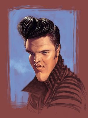Golden Caricatures Volume 4: caricature of Elvis by Alberto Sting Russo.