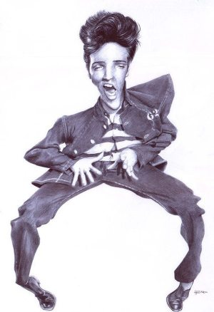 Golden Caricatures Volume 1: caricature of Elvis by Manohead.