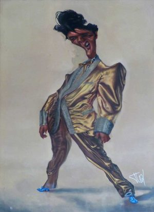 Golden Caricatures Volume 1: caricature of Elvis by Jota Leal (gray background).