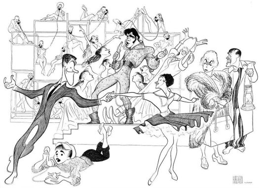 "Hirschfeld and Elvis: Hirschfeld's drawing for 1960's ""Bye Bye Birdie."""