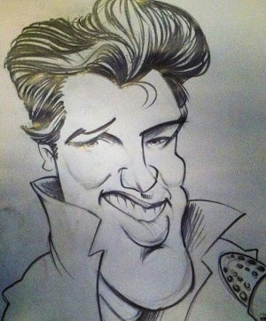 Golden Caricatures Volume 5: caricature of Elvis by Matt Burns.