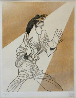 Hirschfeld and Elvis: Hirschfeld's limited edition print of Elvis without guitar in the '68 NBC-TV Special.