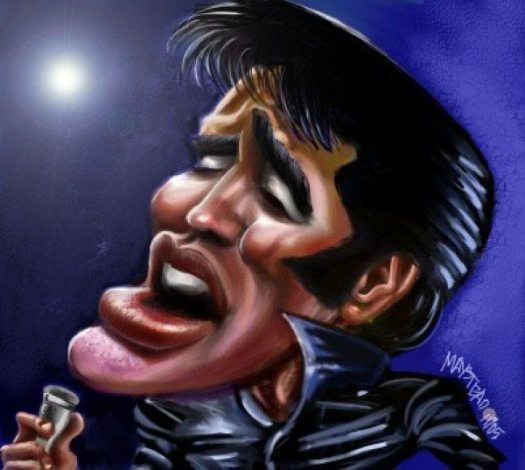 Golden Caricatures Volume 6: Elvis in NBC-TV special in 1968 by Rob M.