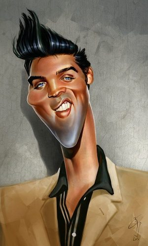 Golden Caricatures Volume 5: caricature of Elvis by Bogdan Covaciu.