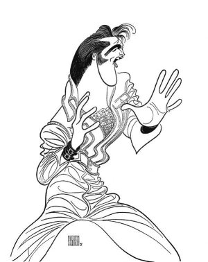 Hirschfeld and Elvis: Hirschfeld's drawing of Elvis from the 1968 NBC-TV Special.