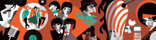 Golden Caricatures Volume 6: Mural of artists from the 1960s by Pablo Lobato.