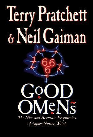 Cover of the first British edition of GOOD OMENS.