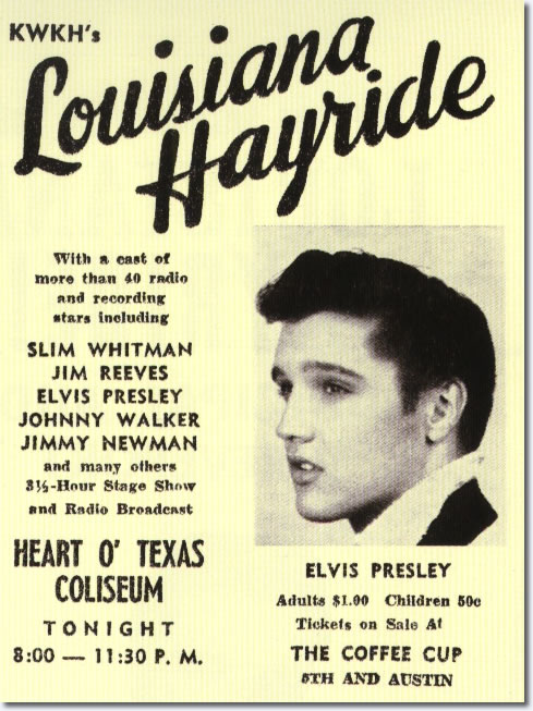 Print Ad for Elvis Presley's Louisiana Hayride Performance April 23, 1955