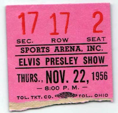 Concert Ticket - Elvis Presley Toledo, November 22, 1956
