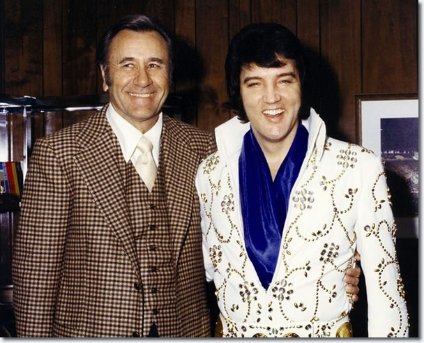 Oral Roberts with Elvis Presley before Elvis' evening show at the Mabee Center at Oral Roberts University in Tulsa, OK on March 1, 1974