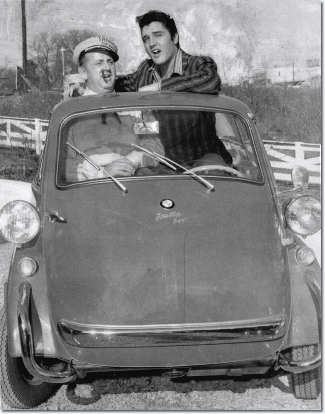 Colonel Parker and Elvis Presley in the BMW Isetta : The Colonel home : 1215 Gallatin Road South Madison, Tennessee 37115