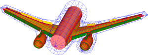 Model of a full-aircraft with a return conductor system for the simulation. The cockpit and empennage have been omitted as they are unnecessary in this wing simulation.