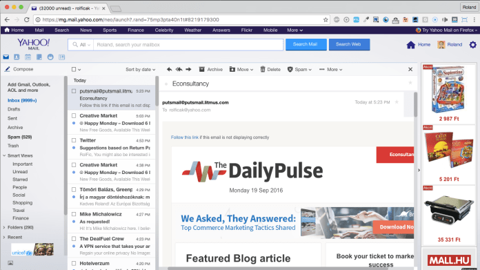 econsultancy responsive email template in yahoo mail
