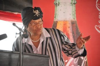 President Sirleaf makes remarks at the commissioning of the Alexander Cummings Model Science and Technology School on Monday, October 26, 2015