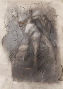 Emanuele Convento - Deposizione, 2012 pastelli su carta, cm 30 x 20