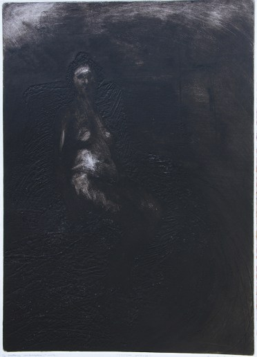 Emanuele Convento - Chimera onirica, 2019, Puntasecca, carborundum e tecnica mista su plexiglass, mm 490 x 690