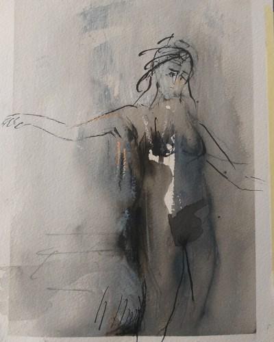 Emanuele Convento - In uscita, inchiostro, tempera e ritocchi a pastello su cartoncino, 2020, cm 28 x 21