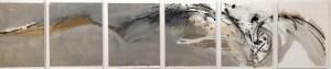 Emanuele Convento - Onda di battaglia, 2014, china e tempera a colla su carta, insieme cm 48 x 216, ciascuno cm 48 x 36