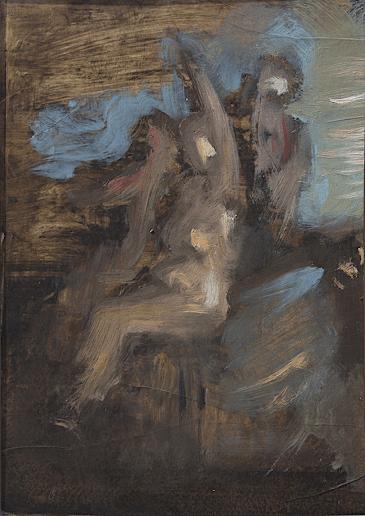 Emanuele Convento - Bagnanti, 2012, olio su cartoncino, cm 40 x 30