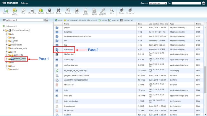 cpanel-acceder-a-ficheros-de-wordpress