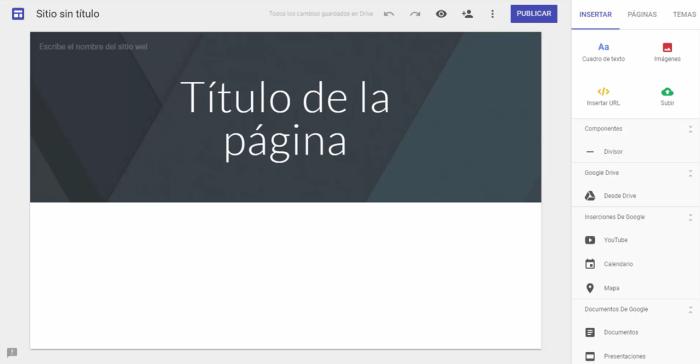 El editor de Sitios de Google Site