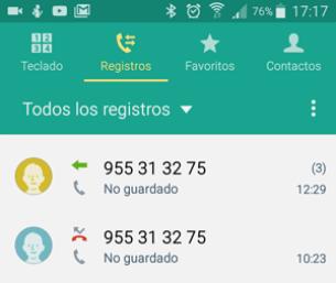 registro de llamadas