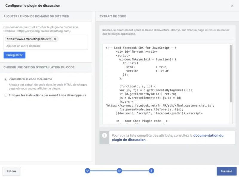 Facebook Messe nger code de chat en direct à ajouter à votre site WordPress