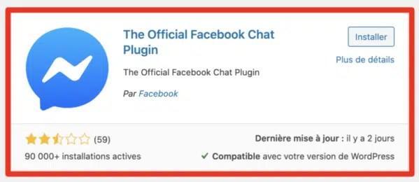 Plugin officiel de chat wordpress pour Facebook