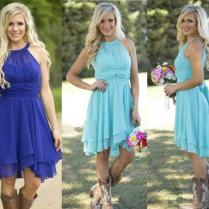 2016 Hot Sale Country Style Turquoise Bridesmaid Dresses Crew Neck