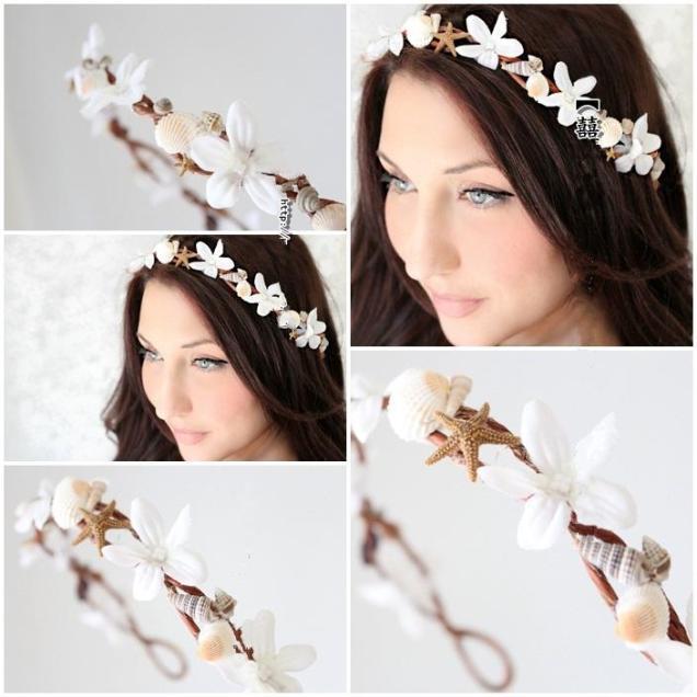 Bohemia Beach Wedding Headpiece Bridal Garland Head Wreath With
