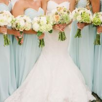 Gallery Mint Green Bridesmaid Dresses And White Wedding Bouquets