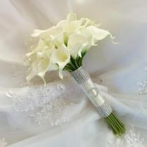 Silk Wedding Bouquet Natural Touch Ivory Calla Lilies Bridal