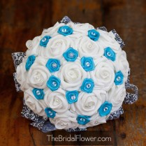 Turquoise And White Wedding Bouquet With Damask Detail