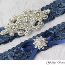 Wedding Garter Set, Something Blue Stretch Lace Bridal Garter Set