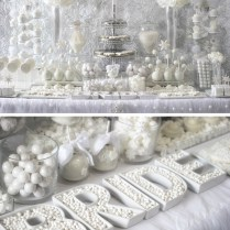 Winter White Bridal Shower Sweets Table