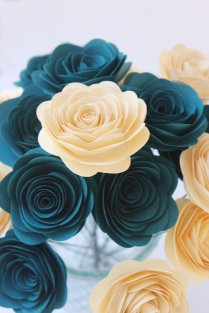 12 Dark Teal & Cream Paper Flowers
