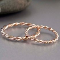 14k Gold Rope Twist Wedding Ring Set 2mm And By Lichenandlychee