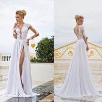 2015 Backless Beach Wedding Dresses Vintage V Neck Sheer Long