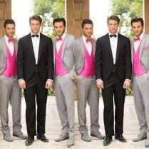 2015 Creative Silver Wedding Bestmen Suits Hot Selling Jacket Tie