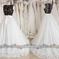 2016 Most Romantic Black White Lace Tulle Wedding Dress,two Pieces
