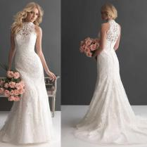2016 New Arrival High Neck Wedding Dress Sleeveless Floral Lace
