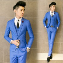 2016 New Fashion Wedding Dress Slim Fit Mens Light Blue Suits Pink