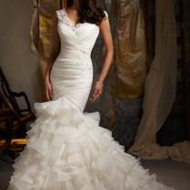 5 Mori Lee Beaded Lace Ruffle Wedding Dress