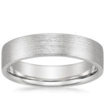 5mm Flat Matte Comfort Fit Wedding Ring In 18k White Gold