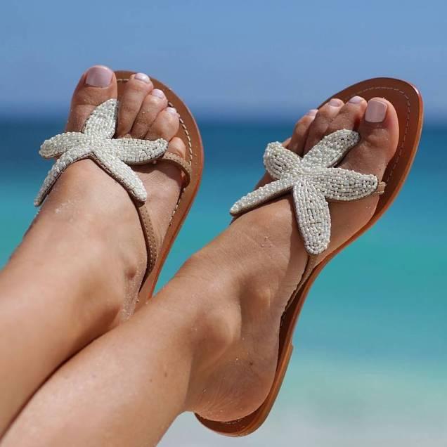 Aspiga Starfish White Beaded Sandals By Aspiga