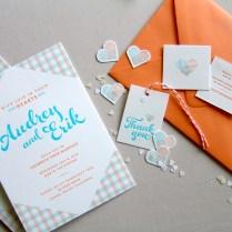Audrey Erik's Gingham Letterpress Overprint Wedding Invitations