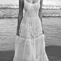 Backless Cap Sleeve Crochet Lace Bohemian Wedding Gown
