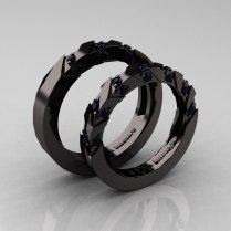 Beautiful Black Gold Wedding Rings Weddingfia